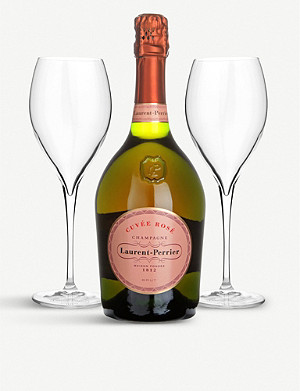 LAURENT PERRIER Cuvée Rosé Brut NV two-glass gift pack 750ml