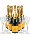 VEUVE CLICQUOT Six bottles, six glasses case 6 x 750ml
