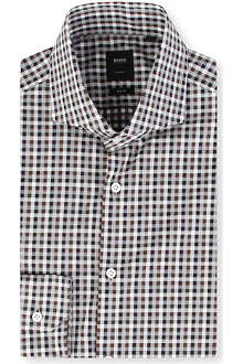 HUGO BOSS Christo slim-fit single-cuff gingham shirt