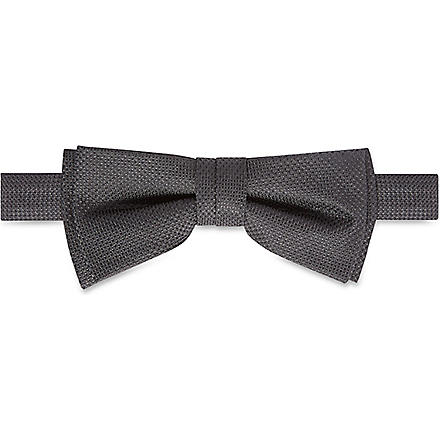 HUGO BOSS Textured silk bow tie (Black