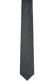 HUGO BOSS Square and circle pattern tie