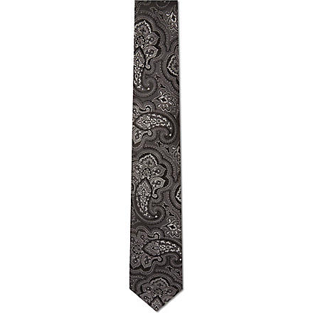 HUGO BOSS Large paisley tie (Grey