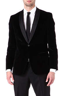 HUGO BOSS Shawl-collar velvet jacket