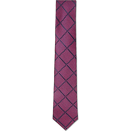 HUGO BOSS Jacquard checked tie (Purple