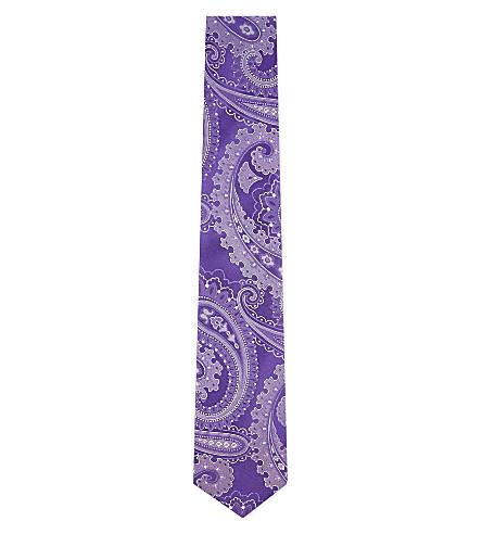 HUGO BOSS Swirly paisley silk tie (Purple