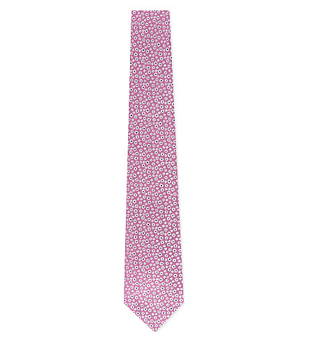 HUGO BOSS Micro flower silk tie (Pink