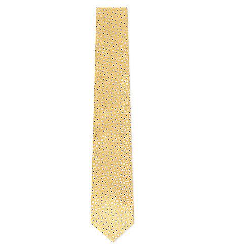 HUGO BOSS Micro flower silk tie (Yellow