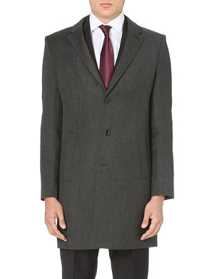 HUGO Antaris leather-panelled wool overcoat
