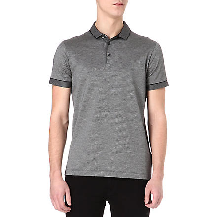 HUGO BOSS Jacquard polo shirt (Black