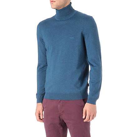 HUGO BOSS Roll neck knitted jumper (Sapphire
