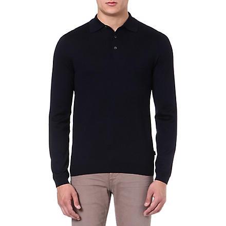 HUGO BOSS Banetto-3 knitted polo shirt (Navy