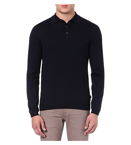 HUGO BOSS Banetto-3 knitted polo jumper (Navy