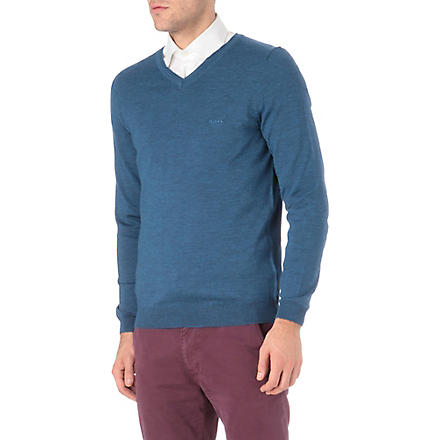 HUGO BOSS V-neck knitted logo jumper (Blue