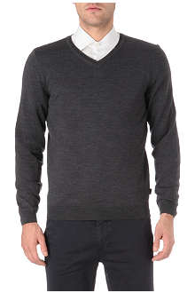 HUGO BOSS V-neck knitted logo jumper