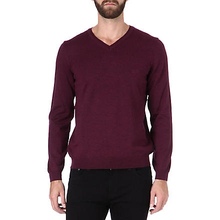 HUGO BOSS V-neck knitted logo jumper (Pink