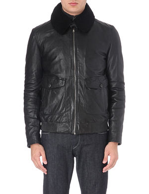 HUGO BOSS Shearling-collar leather jacket