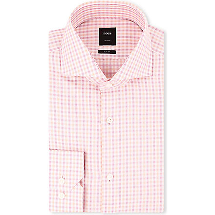 HUGO BOSS Christo slim-fit single-cuff shirt (Pink
