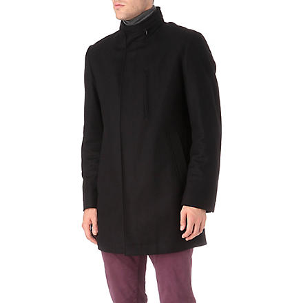 HUGO BOSS Wool-blend stand collar coat (Black