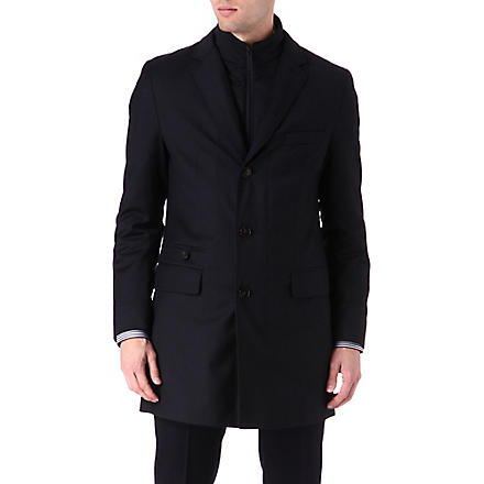HUGO BOSS Duncan detachable collar slim-fit coat (Navy