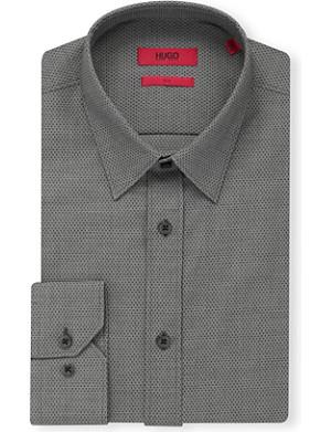 HUGO Elisha slim-fit micro-print cotton shirt