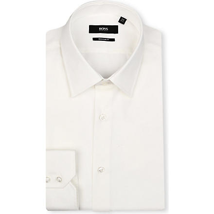 HUGO BOSS Enzo regular-fit single-cuff shirt (Cream