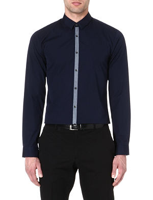 HUGO BOSS Ribbon-placket cotton shirt