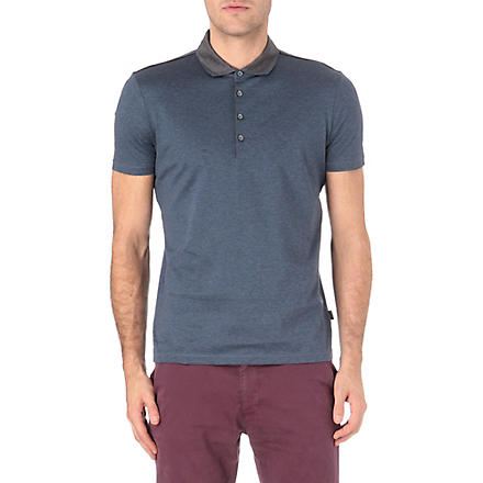 HUGO BOSS Contrast collar cotton polo shirt (Grey