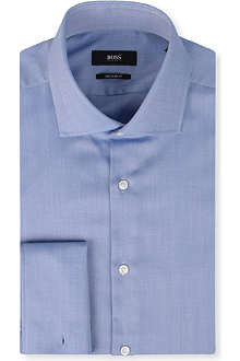 HUGO BOSS All-over herringbone cotton shirt