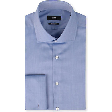 HUGO BOSS All-over herringbone cotton shirt (Blue