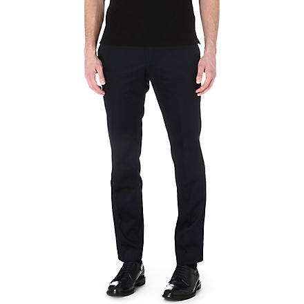 HUGO BOSS Slim sateen trousers (Navy