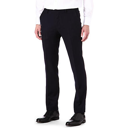 HUGO BOSS Slim adjuster wool trousers (Navy