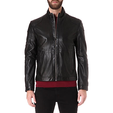 HUGO BOSS Gibson perforated-leather jacket (Black