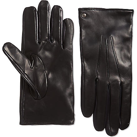 HUGO BOSS Leather gloves (Black