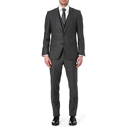 HUGO BOSS Glen plaid slim three-piece suit (Black