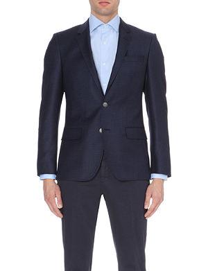HUGO BOSS Checked slim-fit wool jacket