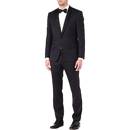 HUGO BOSS Shawl lapel wool-blend suit (Navy