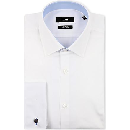 HUGO BOSS Jac slim-fit double-cuff shirt (White