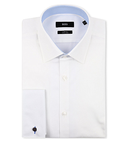 HUGO BOSS Jac slim-fit double-cuff shirt (White