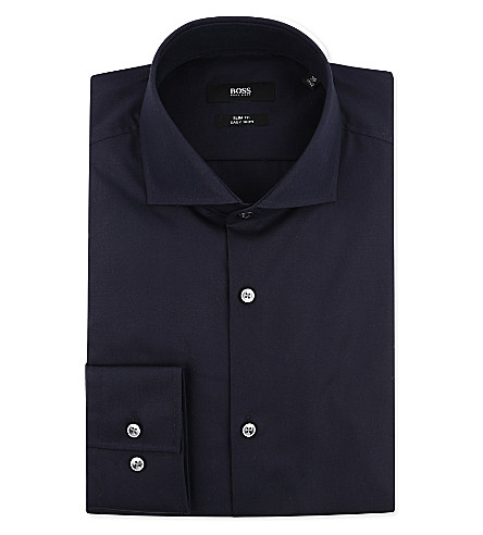 HUGO BOSS Jane slim-fit single-cuff shirt (Navy
