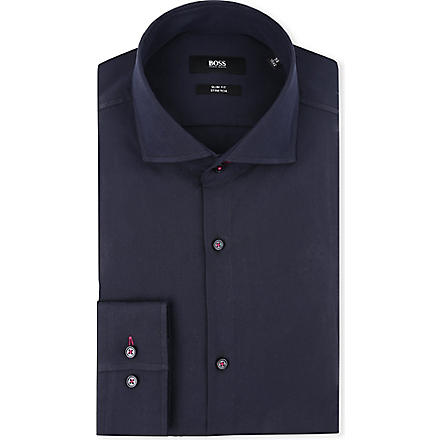 HUGO BOSS Jaser slim-fit single-cuff shirt (Navy