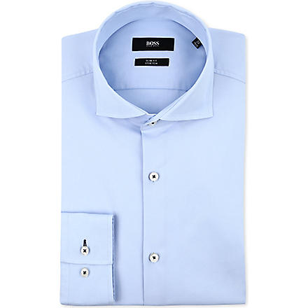 HUGO BOSS Jaser slim-fit single-cuff shirt (Sky