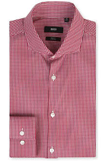 HUGO BOSS Micro gingham slim-fit single-cuff shirt