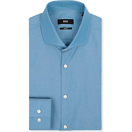HUGO BOSS Jason slim-fit single-cuff shirt (Aqua