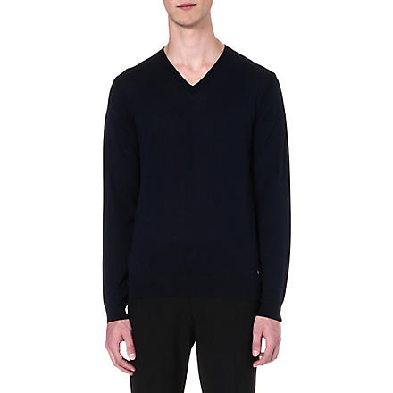 HUGO BOSS Jeafrey silk-blend jumper (Navy