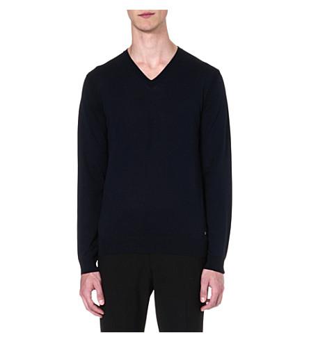 HUGO BOSS Jeafrey silk-blend jumper (Navy