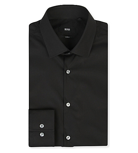 HUGO BOSS Jenno slim-fit single-cuff shirt (Black