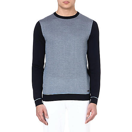 HUGO BOSS Silk-jacquard jumper (Navy