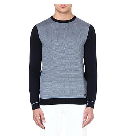 HUGO BOSS Silk-jacquard jumper (Navy