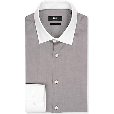 HUGO BOSS Jonne slim-fit single-cuff shirt (Brown