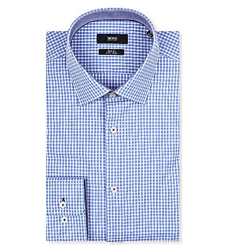 HUGO BOSS Juri slim-fit gingham shirt (Sky